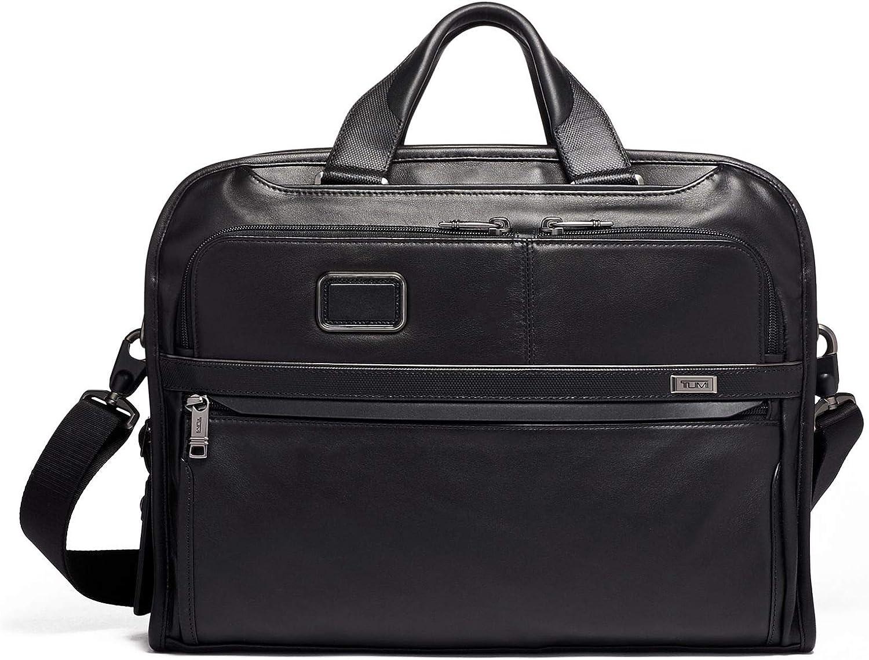 TUMI - Alpha 3 Organizer Portfolio Bag Brief Briefcase - Leather Briefcase for Men and Women - Black
