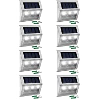 Amazon best sellers best outdoor step lights solar step lights jackyled 8 pack led solar powered weatherproof outdoor lighting for steps stairs aloadofball Image collections