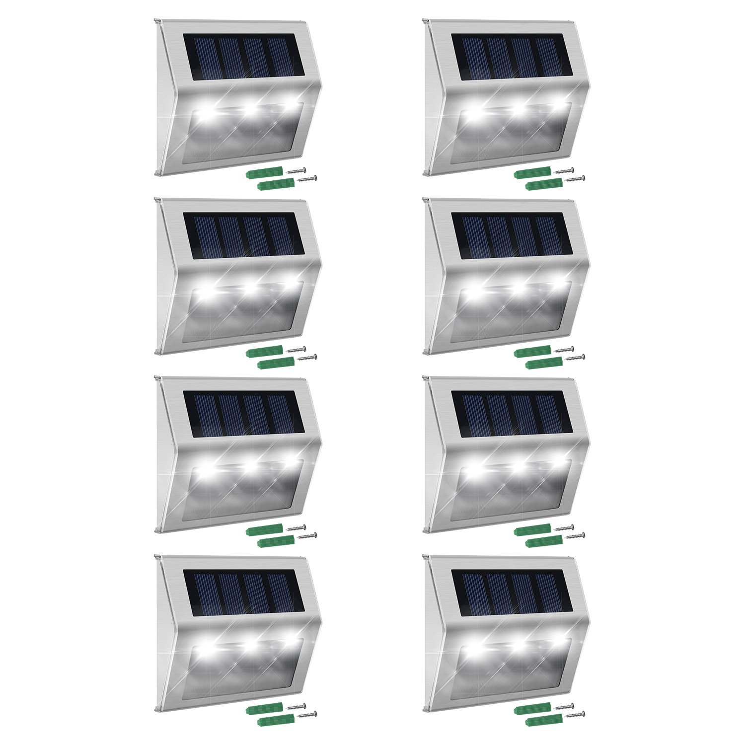 Solar Step Lights with Larger Battery Capacity JACKYLED 8-Pack Stainless Steel Bright 3 LED Solar Powered Deck Lights Weatherproof Outdoor Lighting for Steps Stairs Decks Fences Paths Patio Pathway by JACKYLED