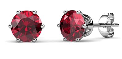Private Twinkle 18ct White Gold Plated Birthstone stud earrings made with crystal from SWAROVSKI for Women (5mm, 6 Claw)