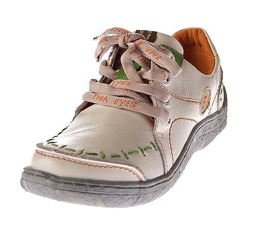 TMA Eyes 1646 Zapatos de piel para mujer piel, color negro, verde, azul, rojo y blanco, dise?o desgastado, color rojo, talla 40 EU