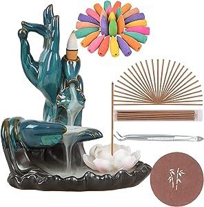 SOLEJAZZ Backflow-Incense-Burner Lotus Ceramic Incense Holder with 120 Incense Cones + 30 Incense Sticks for Home Decor Yoga Craftwork Figurine, Blue