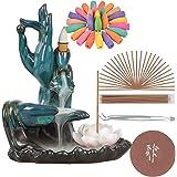 SOLEJAZZ Backflow-Incense-Burner Lotus Ceramic Incense Holder with 120 Incense Cones + 30 Incense Sticks for Home Decor Yoga