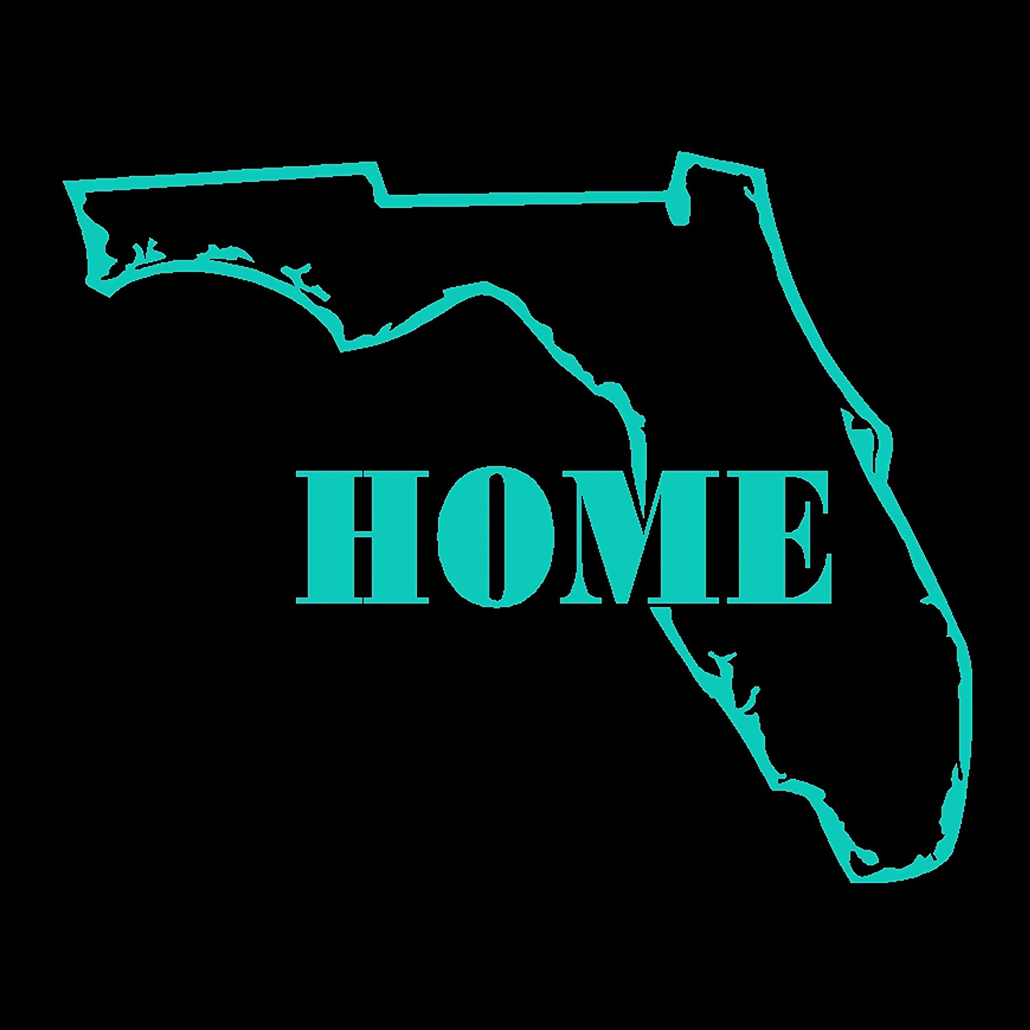 Dan's Decals Florida Home Decal, Florida is My Home, Welcome to Florida Sticker (H 6 by L 6 Inches, Teal)