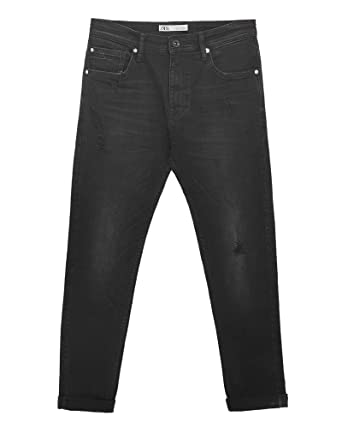 52993313342 Zara Men Ripped Carrot fit Jeans 7223/461 Black at Amazon Men's ...