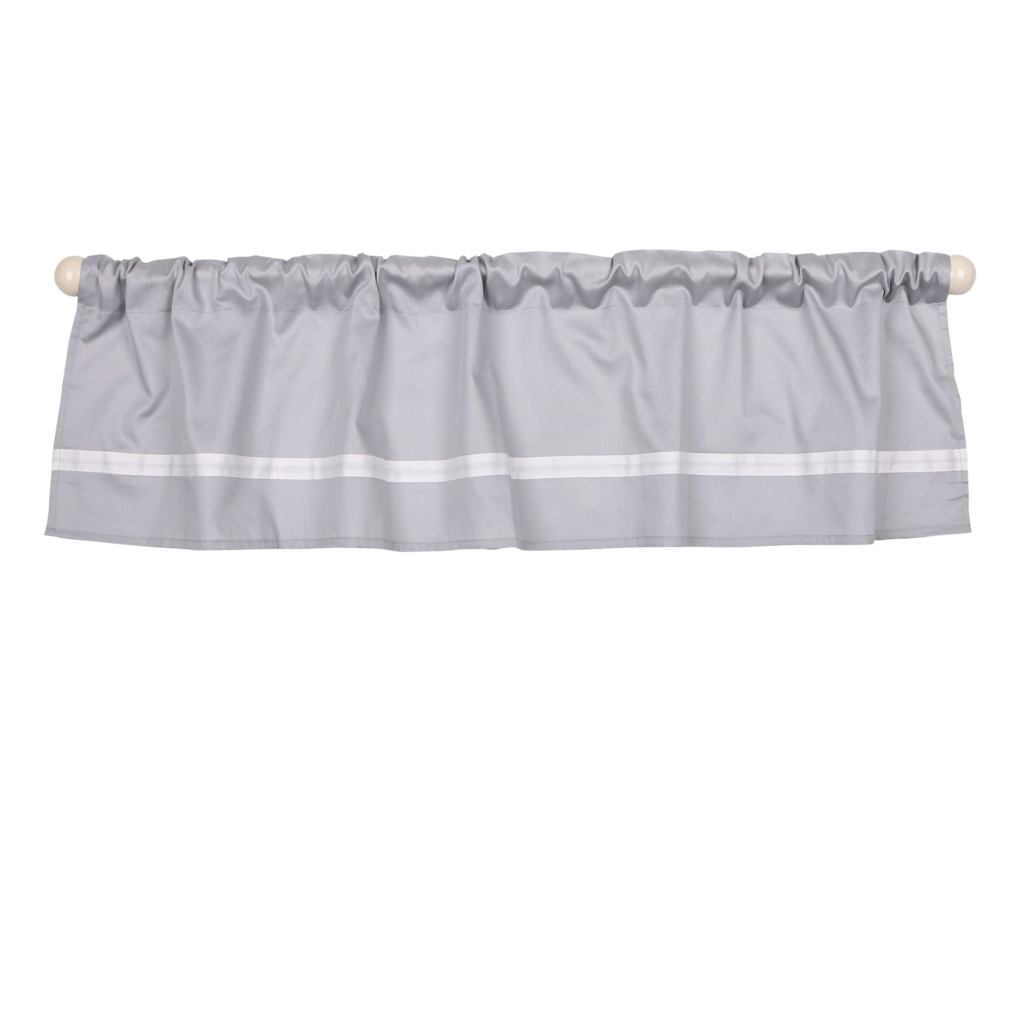 Grey Tailored Window Valance by The Peanut Shell - 100% Cotton Sateen
