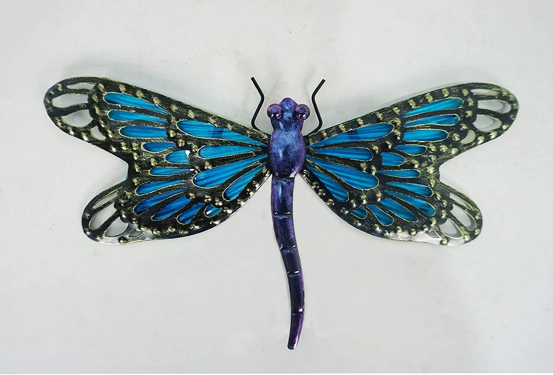 "Comfy Hour 12"" Metal Art Dragonfly Wall Decor Blue"
