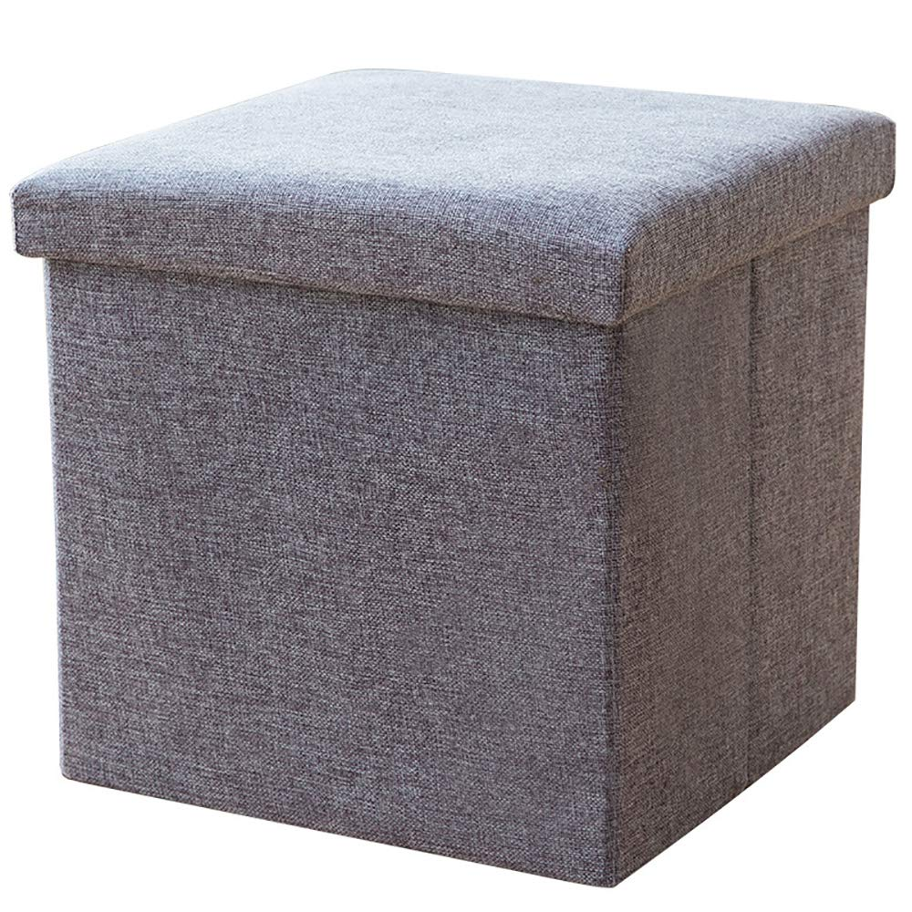 Home Folding Storage Ottomans Cotton Linen Collapsible Cube,Foot Rest Stool/Seat,Clutter Toys Clothes Collection Storage Chest,Gray,38×38×38CM