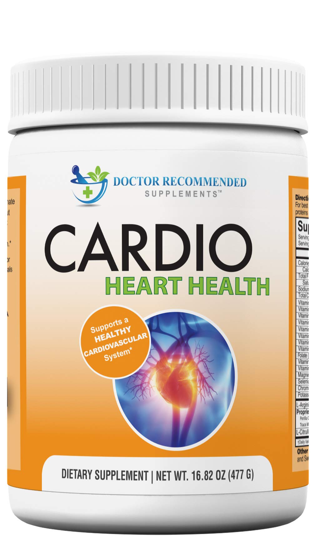 Cardio Heart Health Powder - L-Arginine Supplement 5000mg & L-Citrulline 1000mg,16.82 oz by DOCTOR RECOMMENDED SUPPLEMENTS