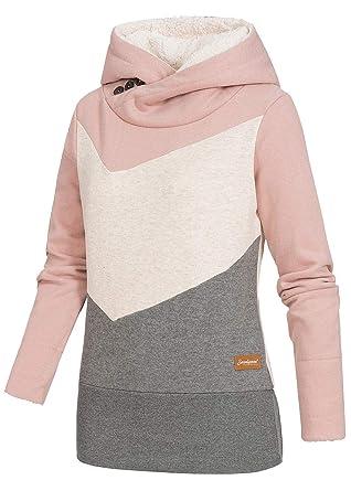 e3fa77b242 Seventyseven Lifestyle Damen Colorblock Hoodie Kapuze breiter Bund rosa  Weiss grau, Gr:L: Amazon.de: Bekleidung