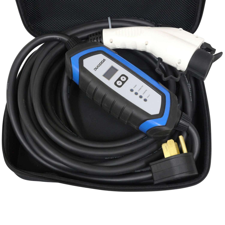 Includes Storage Case DUOSIDA 25 Ft Level 2 EV Electric Vehicle Portable Car Charger NEMA 14-50P 32-AMP 220-240V 7.68 kW