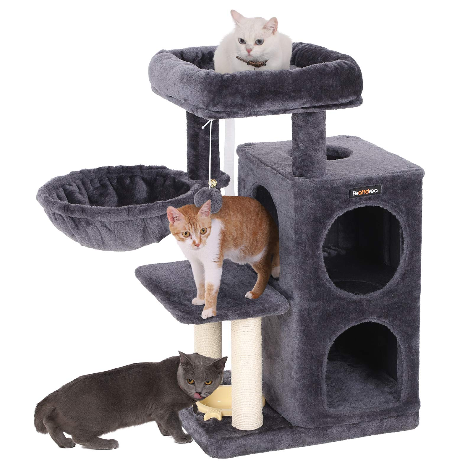 FEANDREA SONGMICS Multi-Level Cat Tree with Feeder Bowl, Sisal-Covered Scratching Posts, Dual Condo, Activity Centre Cat Tower Furniture, Smoky Grey UPCT57G by FEANDREA