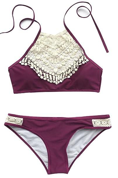 cd196928fc CUPSHE Women's Blooming Above Lace Halter Bikini Set Beach Swimwear,Deep  Burgundy,Small