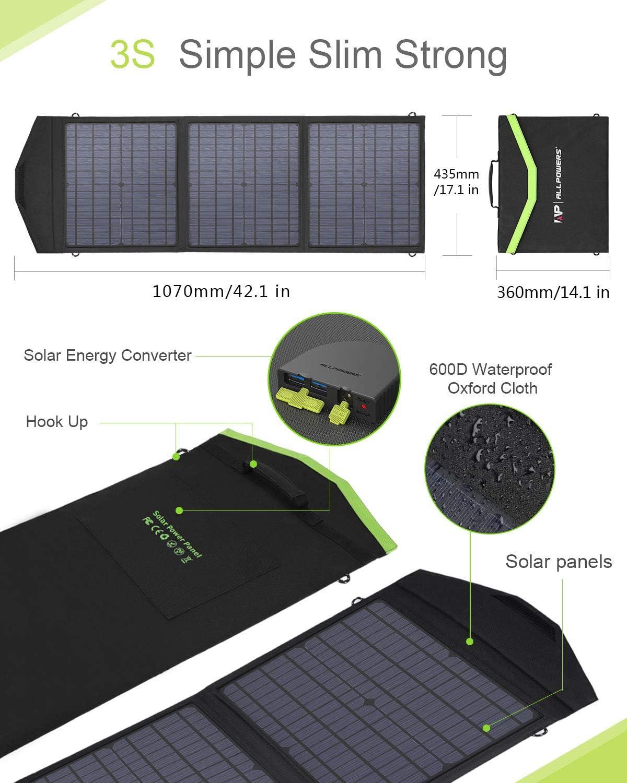 ALLPOWERS 60W Monocristalino Cargador Panel Solar Batería Placa Plegable con 5V USB 18V DC y 9 Paneles Solares para Phone los teléfonos móviles de HTC ...
