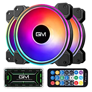 GIM KB-24 RGB Case Fans, 3 Pack 120mm Quiet Computer Cooling PC Fans, Music Rhythm 5V ARGB Addressable Motherboard SYNC/RC Controller, Colorful Cooler Speed Adjustable with Fan Control Hub
