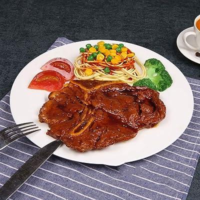 MengYao Simulado Western T-Bone Steak Modelo de Comida Restaurante Exhibición Accesorios de Muestra Simulación Alimentos Artesanía Artificial Props Decoración, Gris Claro, 28X28CM: Hogar