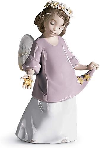 LLADR Heavenly Stars Angel Figurine. Porcelain Angel Figure.