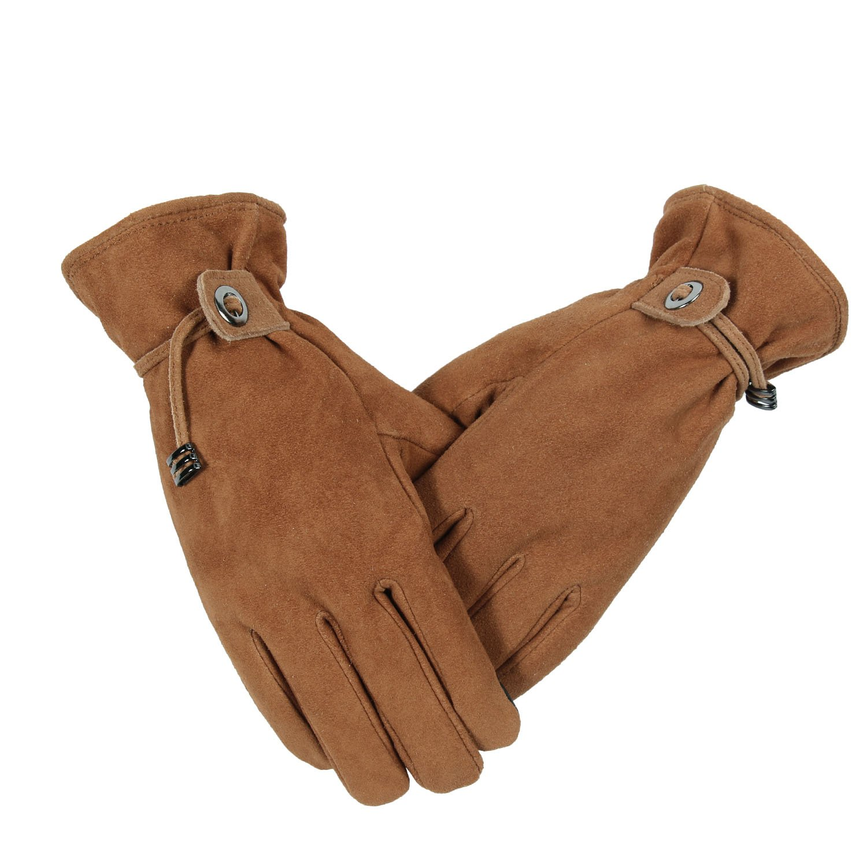 OZERO Winter Gloves for Women//Girls Deerskin Suede Leather Motorcycle Cycling Bike Glove