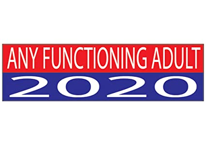 Anti trump political bumper sticker 10x3 auto decal any functioning adult 2020 election liberal democrat car