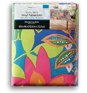 Summer Botanical Pattern Rectangular Vinyl Tablecloth (60 X 84 Inches)
