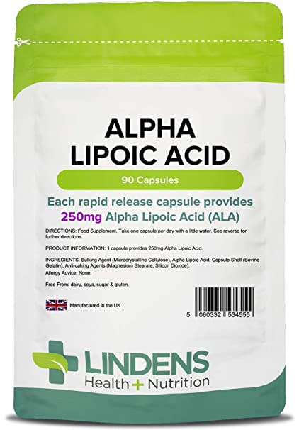 6ff48b574455 Lindens - Acide alpha-lipo•que 250mg Capsule - 90 pack  Amazon.fr ...