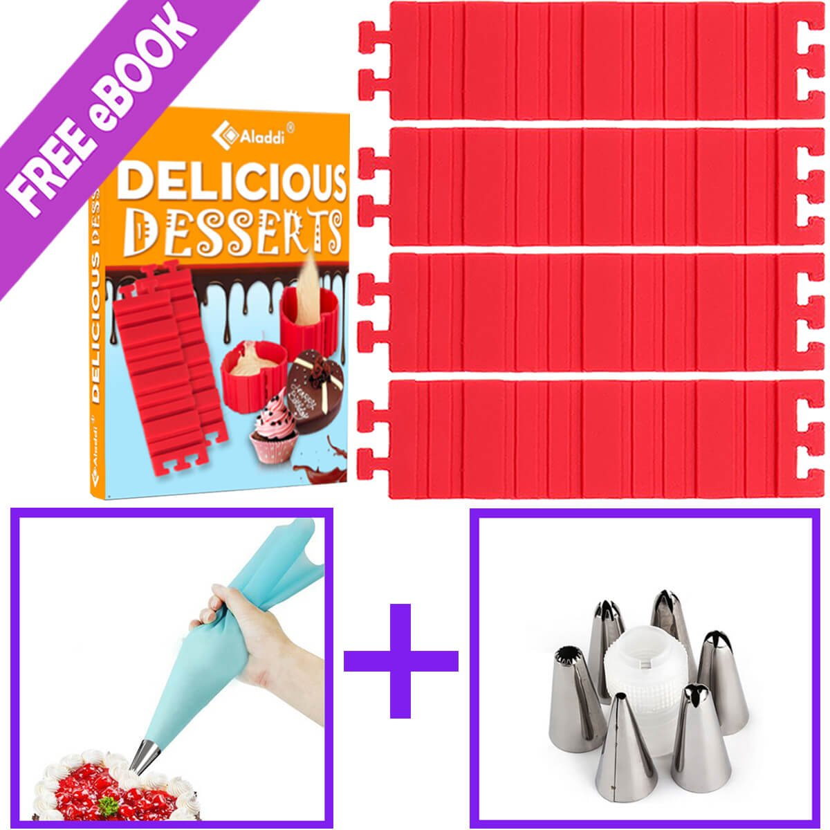 Punchs Steel OTHER 11 Best Silicone Mold Magic Snake and Cake Decorating Tips Combo, DIY Baking Mould Tool Design Your Pastry Dessert with Any Pan Shape, 4 Pcs/Lo, Muffin Cups