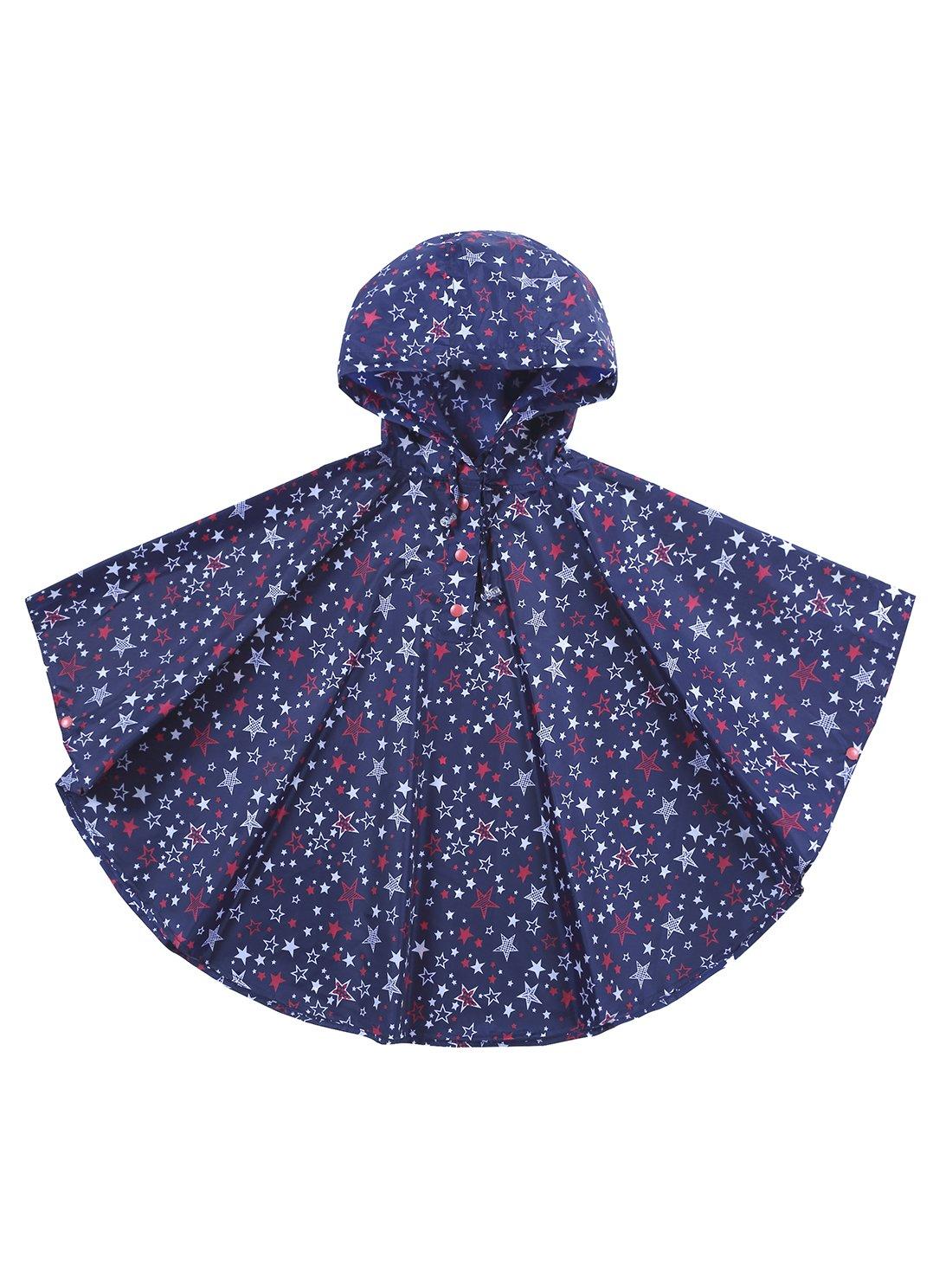 URBEAR Unisex Kids' Raincoat Hooded Waterproof Outdoor Trekking Poncho Suit Raincoat in a Bag, Blue M(100-130CM) Blue M(100-130CM) B80603XX-BM