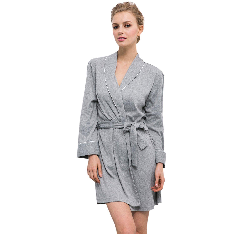Bridess Cotton Women Long Sleeves Bathrobe Kimono Robe Comfort Sleepwear