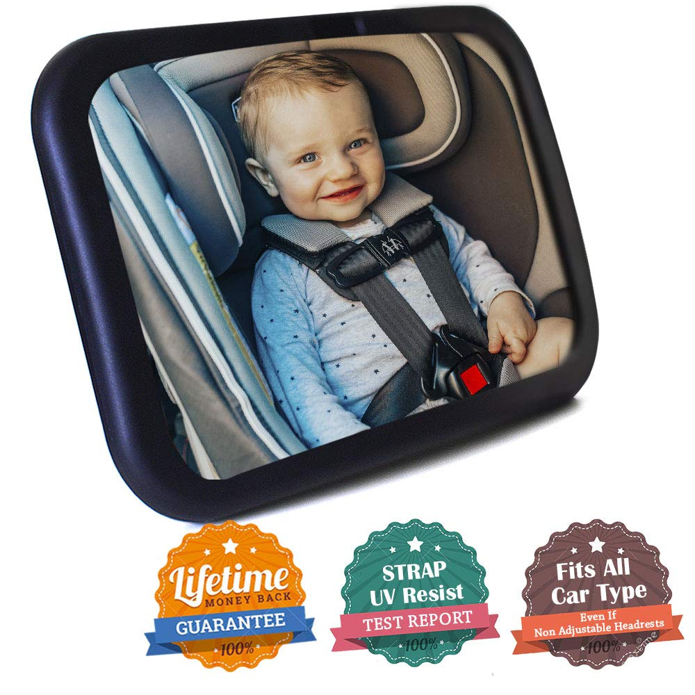 Baby Car Mirror- Baby Mirror for Car- Super Easy to Install 11.8''x7.5'' View Shatterproof Rear Facing Infant Car Seat Mirror with Resistant UV Strap and Fits All Cars -Best Baby Shower Gift by Cheensy