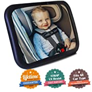 """Baby Car Mirror- Baby Mirror for Car- Super Easy to Install 11.8""""x7.5"""" View Shatterproof Rear Facing Infant Car Seat Mirror with Resistant UV Strap and Fits All Cars -Best Baby Shower Gift"""