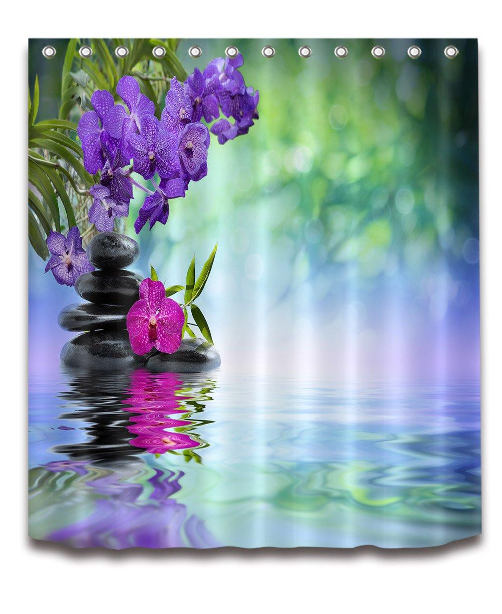 LB India Spa Zen Buddha Water Yoga Hot Spring Meditation Decoration Shower Curtain Polyester Fabric 3D 60x72 Waterproof Purple Orchid Flower Stone Bathroom Bath Curtains Liner Set Hooks