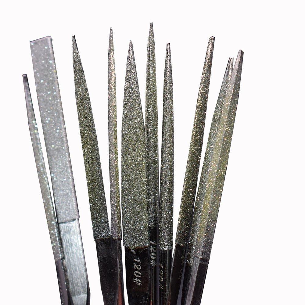 Fatmingo 7'' Premium-grade Diamond Needle Files Set Grit120,Black Nickel Diamond Coated Variety Shapes Jewelers Files Kit for Metal/Ceramic/Jewelry/Glass filing