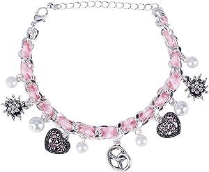SIX Oktoberfest Damen Armband, Armschmuck, Gliederarmband, Bettelarmband, Anhänger, Perlen, Herzen, rosa, Silber (748-643)