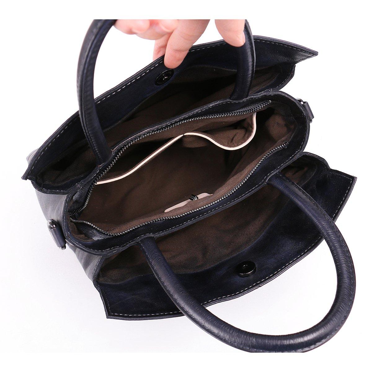 Aphison Designer Soft Leather Totes Handbags for Women, Ladies Satchels Shoulder Bags (BLACK) by APHISON (Image #6)