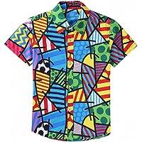 EElabper Camisa hawaiana de manga corta con estampado geométrico cuadrado para hombre