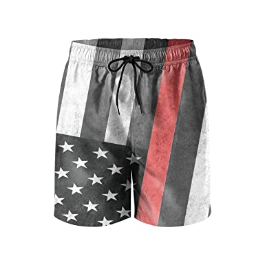b712075865b3a Amazon.com: ZQ-SOUTH Men's Firefighter Axe Red Line Flag Quick Dry Summer  Beach Surfing Board Shorts Swim Trunks Cargo Shorts: Clothing