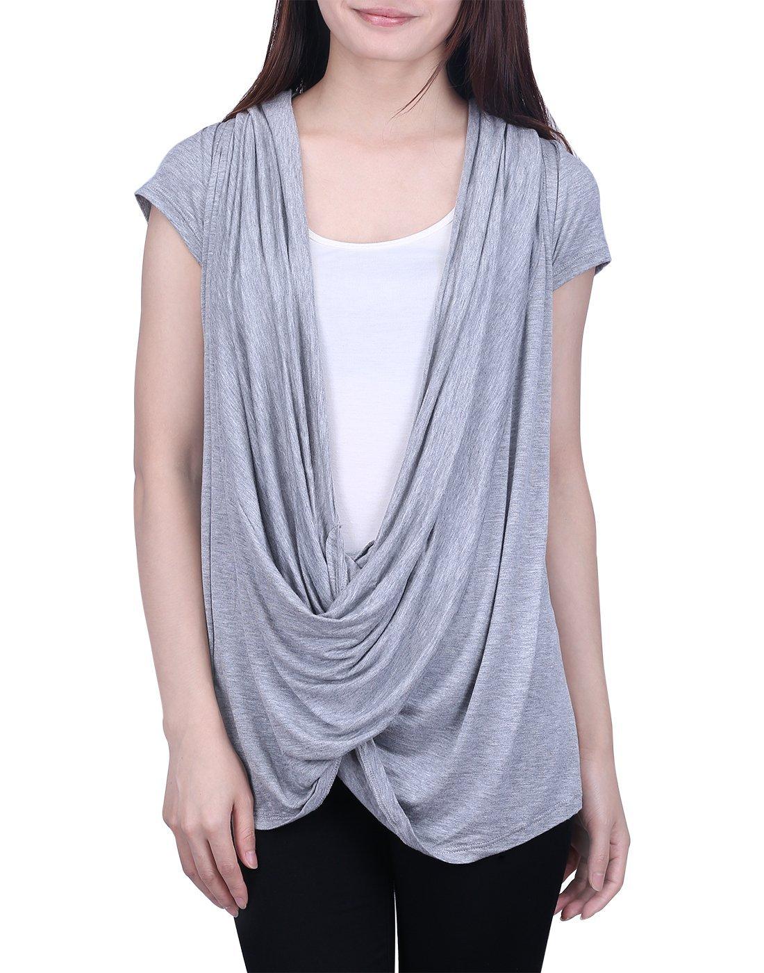 HDE Womens Short Sleeve Nursing Top Criss Cross Lightweight Breastfeeding Shirt