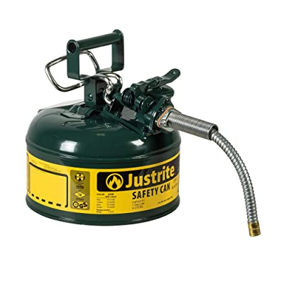 """Justrite 7210420 AccuFlow 1 Gallon, Galvanized Steel Type II Green Safety Can With 5/8"""" Flexible Spout: Industrial & Scientific"""