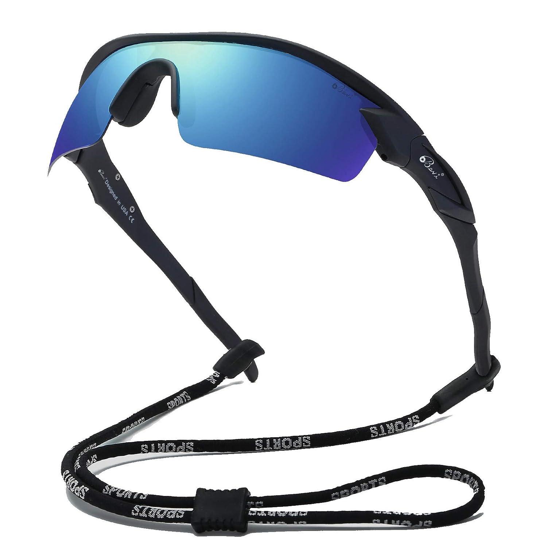 Bevi Sports Sunglasses Polarized Mirror Lenses Flexible Frame for Men Women Running Cycling glasses
