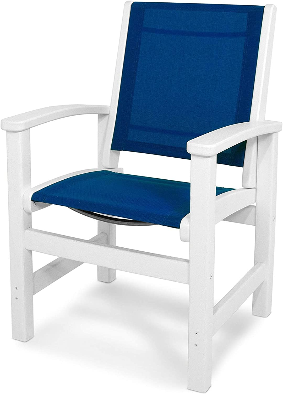 POLYWOOD 9010-WH905 Coastal White and Royal Blue Sling Dining Chair