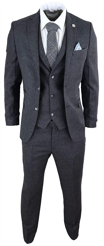 Costume 3 pi/èces Homme Tweed /à Chevrons Laine m/élang/ée Style Vintage r/étro Peaky Blinders ann/ées 20