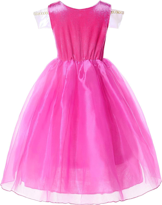 JerrisApparel Ni/ña Princesa Aurora Disfraz Vestir Bella Durmiente Vestito