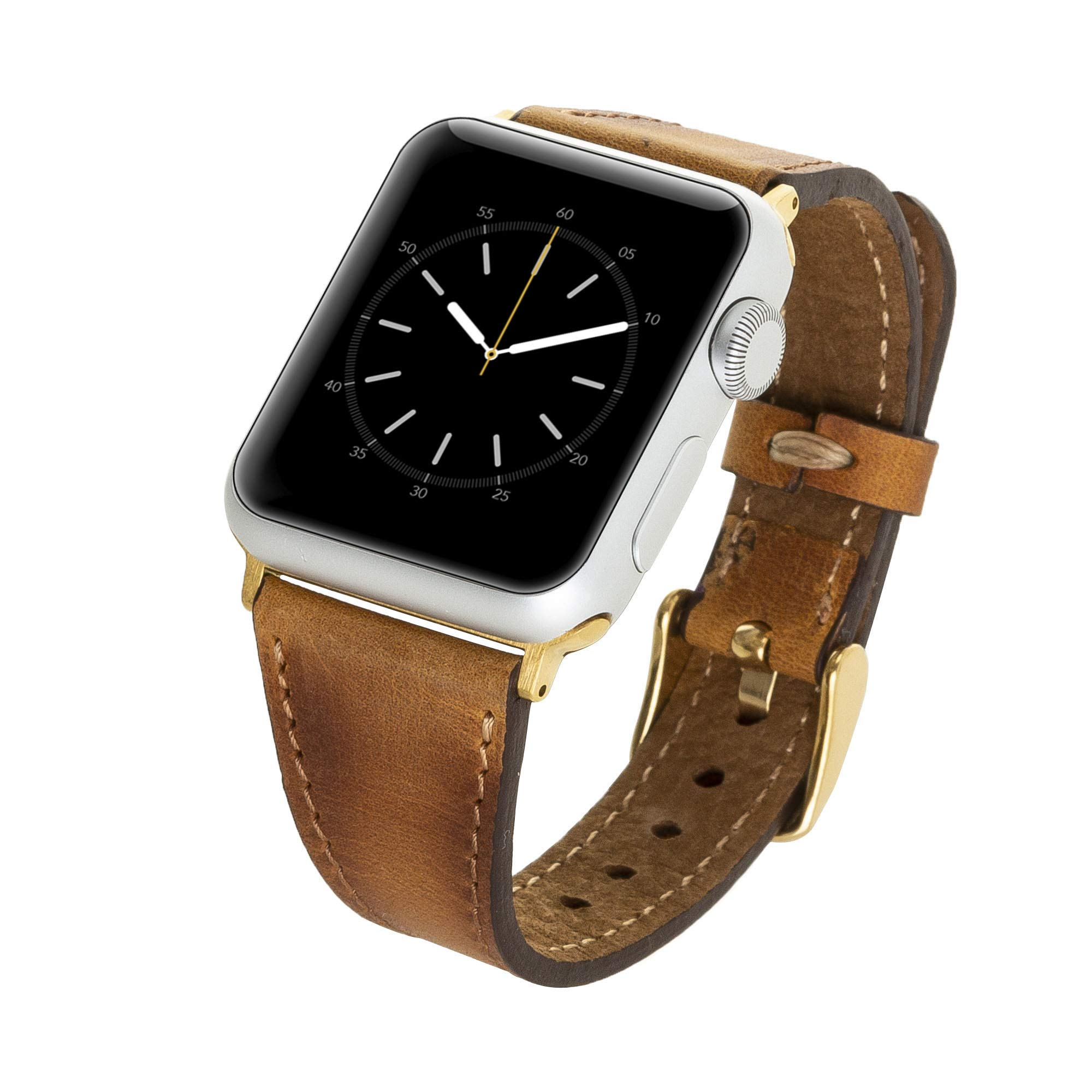 Venito Messina Leather Slim Watch Band Strap Compatible with The Newest Apple Watch iwatch Series 5 as Well as Series 1,2,3, 4 (Antique Brown w/Gold Stainless Steel Hardware, 38mm-40mm) by Venito