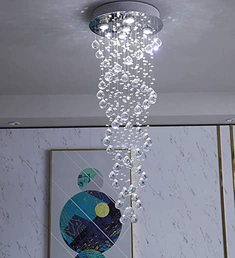 Crystal Chandeliers LED 3 Brightness K9 Crystal Ceiling Light Flush Mount Chandelier Pendant Light Apply to Stairs Lobby Country House Showroom Living Room Lighting D15.74″ x H47.24″