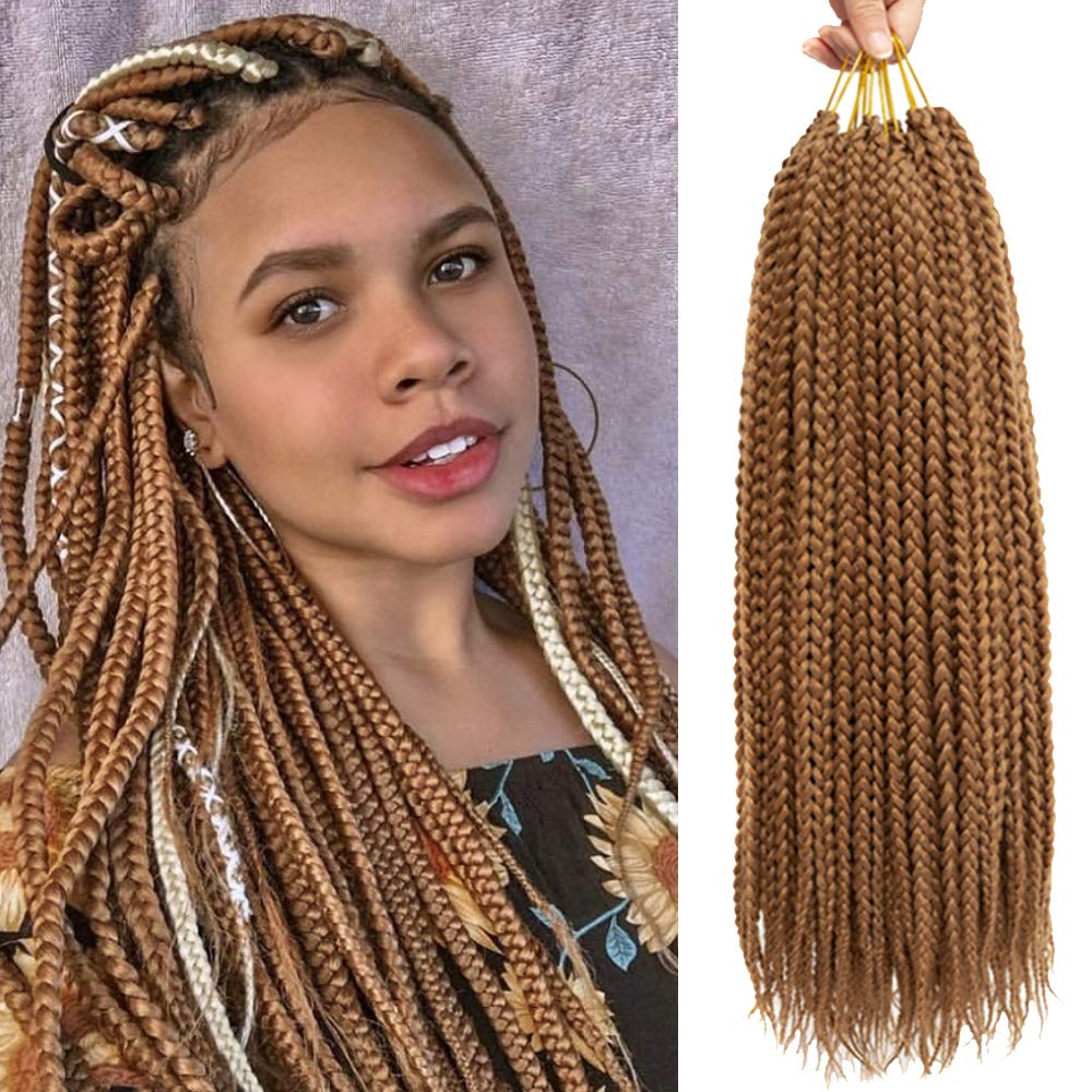 Amazon Com Vrhot 6packs 18 Box Braids Crochet Hair Small Synthetic Hair Extensions Twist Crochet Braids Hairstyles Kanekalon Braiding Hair Style Long Dreadlocks Blonde Yellow 18 Inch Brown 18 Inch 27 Beauty