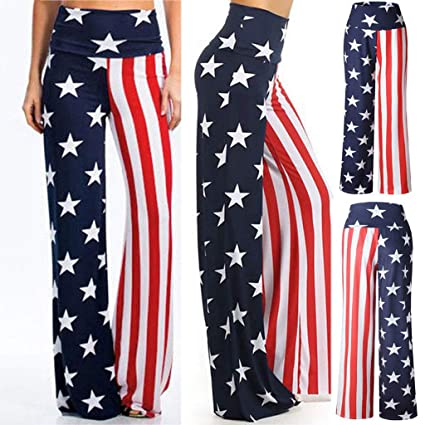 4580f57744 KaiCran Womens Summer High Waist Pants American Flag Comfy Loose Wide Leg Pants  Trousers for 4th of July at Amazon Women's Clothing store: