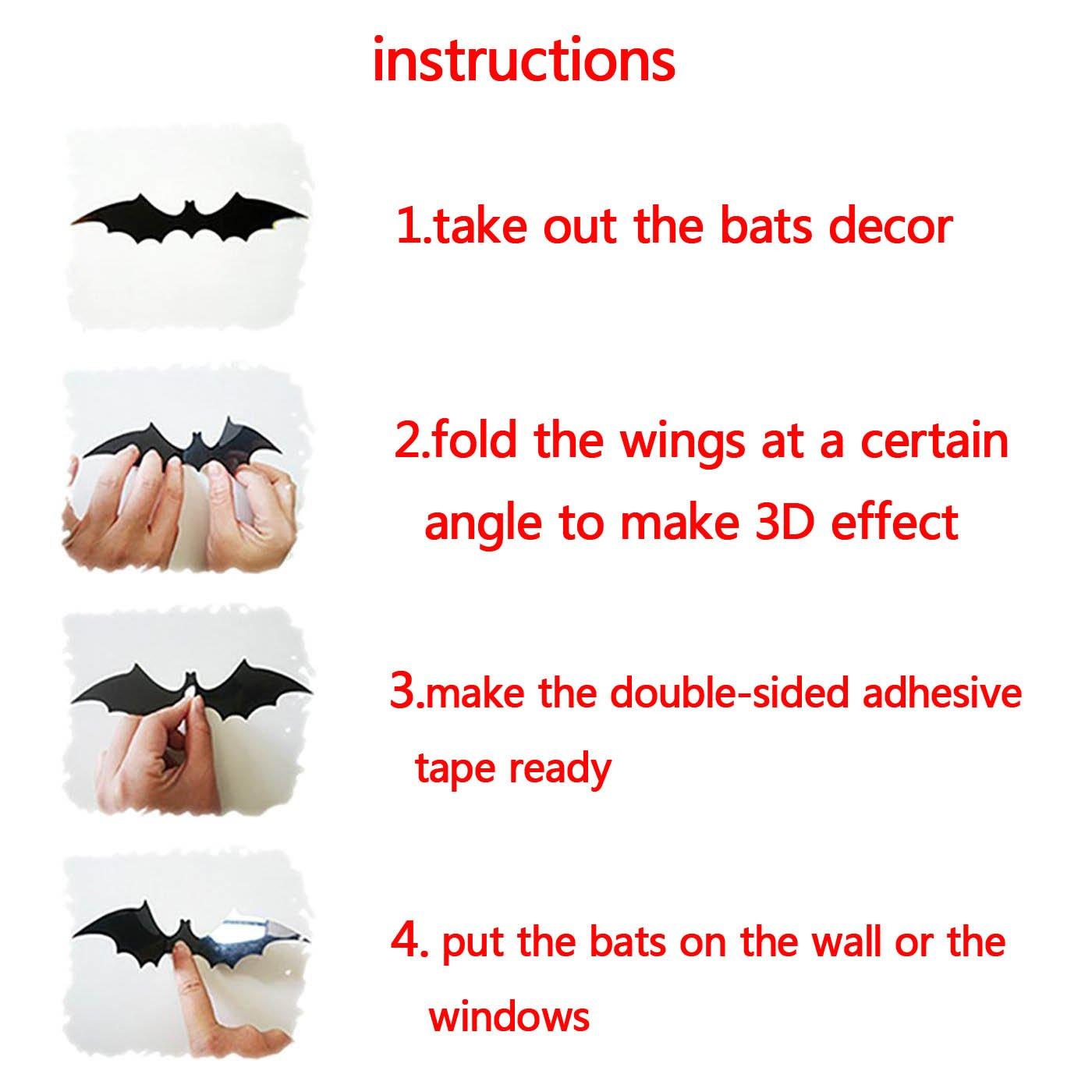 Yusongril DIY Halloween Party Supplies PVC 3D Decorative Scary Bat Dragon Wall Decal Wall Sticker Halloween Eve Decor