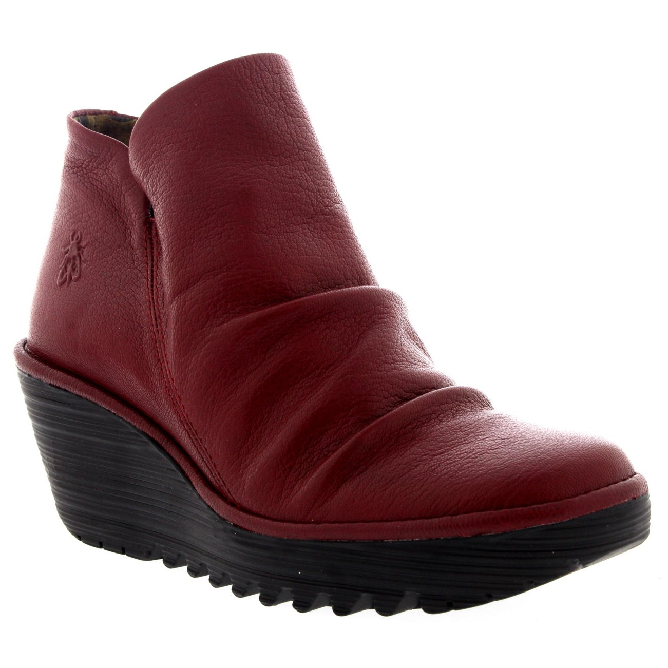 FLY London Womens Yip Mousse Casual Wedge Heel Winter Leather Ankle Boot - Cordoba Red - 11