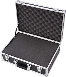 Aluminum Hard Case Briefcase Toolbox Storage Box Case Black Carrying Case 18.89''Length x 13.77''Width x 5.9''Height