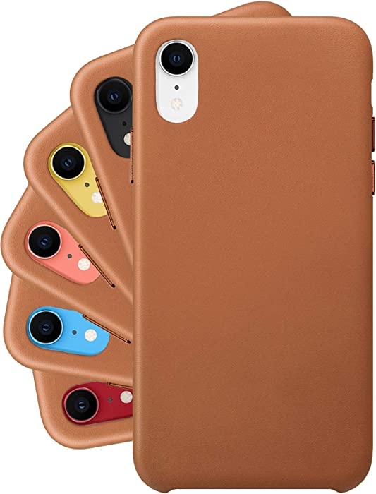 LONLI Classic Series | Genuine Nappa Leather Case for iPhone X and XS - (5.8 inch, Caramel)